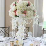 Tall centerpieces with hydrangea, roses, spray roses and orchids set on a vase and surrounded with votive candles