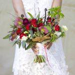wedding-bouquet-boho-style-red-roses-ranunculus-hellibores-orchids-mashrooms-lotus-4