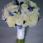 White and royal blue wedding bouquet