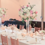 Tall Lush centerpieces of pink peonies and roses, tulips, ranunculus and hydrangea