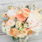 Romantic Spring Wedding Stephanie & Eric Peach, ivory and blush colors for the bridal bouquet