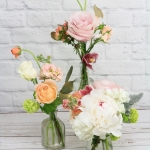 'Ensemble' Centerpiece Peach, ivory and blush, light green colors with red hints