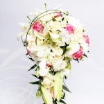 Cascading bridal bouquet  with white and pink roses with lilies