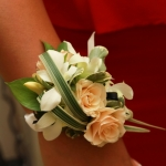 Lady's corsage of white orchids and ivory spray roses