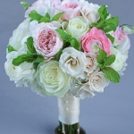 bridesmaids--bouquet-white-pink-flowers-round-bouquet-of-white-roses-pink-garden-roses-pink-and-white-lisianthus-blush-ranunculus-white-dendrobium-orchids-ivory-roses-spray-roses-fresh-mint_29813098781_o
