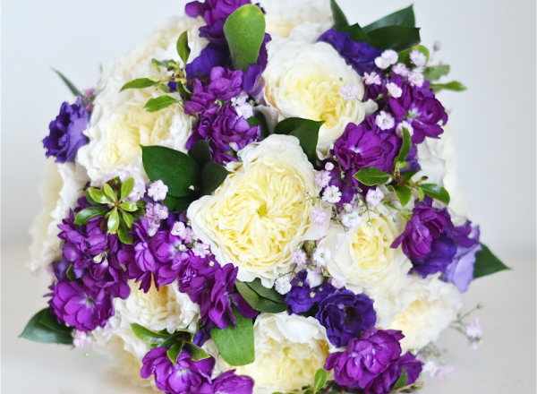 Garden Roses and purple stocks  bouquet