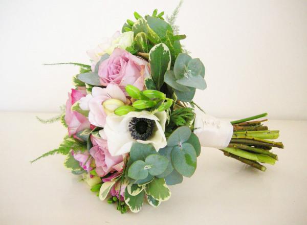 Vintage wedding bouquet lavender roses white amenones fressia