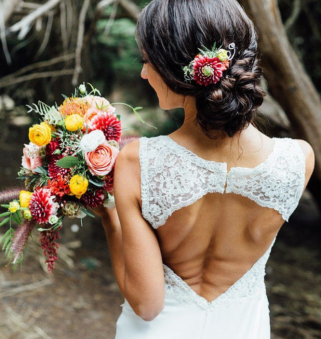 Vibrant fall wedding bouquet for a styled photo shoot