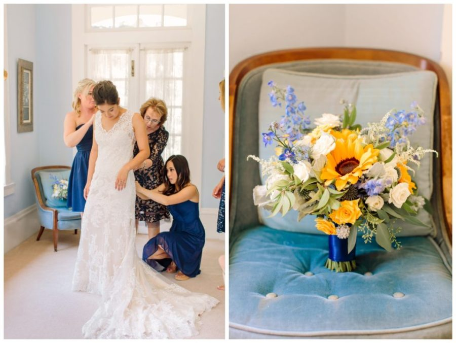 Bridal bouquet with Sunflowers and Blue Delphinium