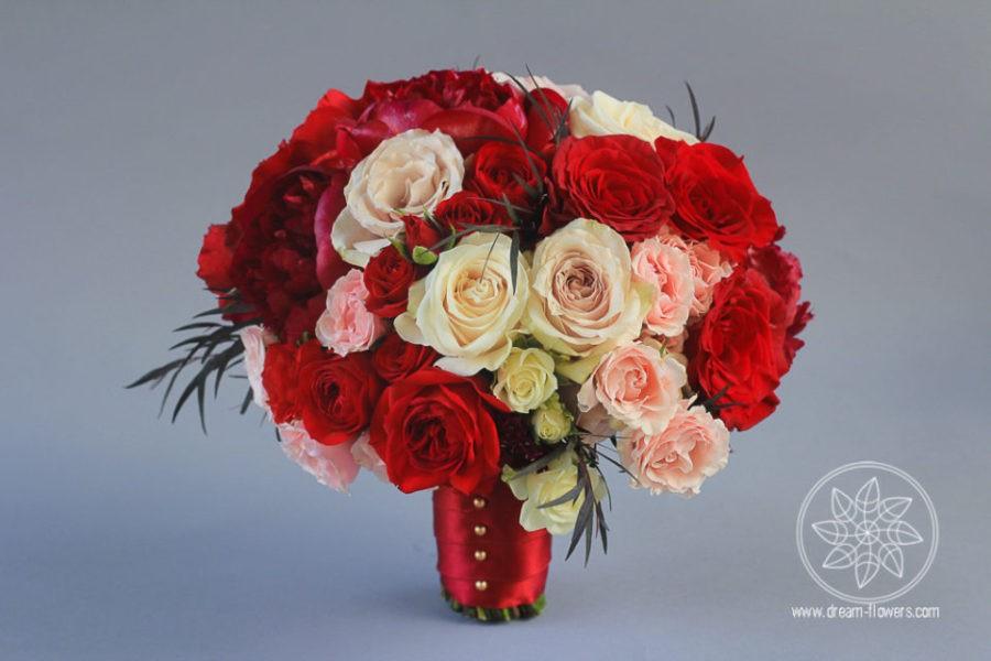 White Cream Apple Red Blush Wedding Bouquet
