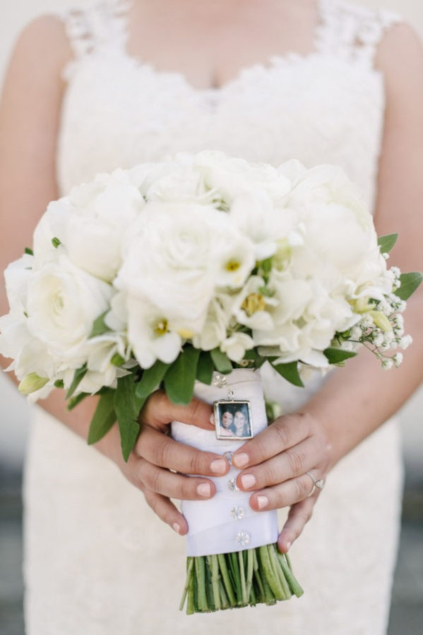 White bouquet with peonies and ranunculus, freesia and tulips