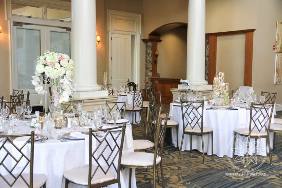 White and blush wedding tall centerpieces with orchids