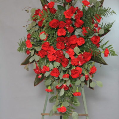Funeral Tribute Standing Easel with red flowers