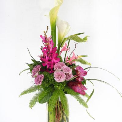 Vase Flower Arrangement Magenta
