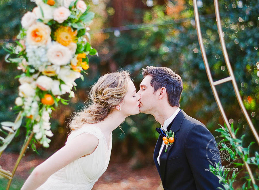Florals in citrus and blue colors. Editorial photo shoot at the Ardenwood Historic Farm