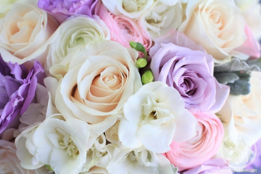 Lavender, ivory and pink personal flowers